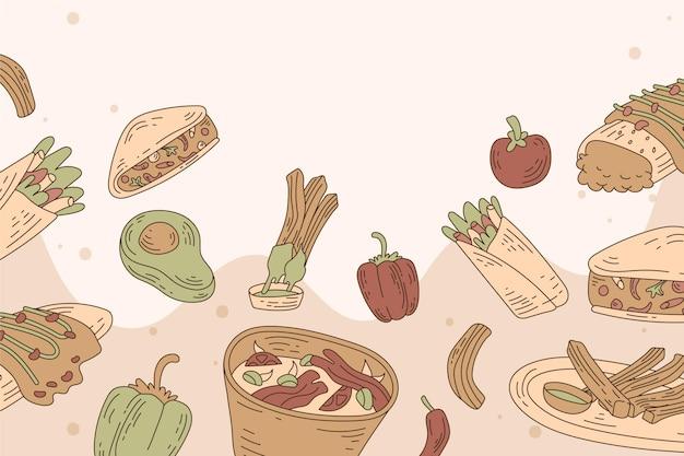 Hand gezeichnetes essen kritzelt hintergrund