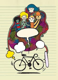 Hand gezeichnetes fahrradkonzept illustration.text bubble.doodle