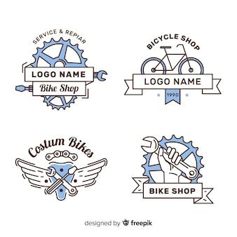 Hand gezeichnetes fahrradlogo collectio