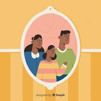 Hand gezeichnetes familienporträt an der wand