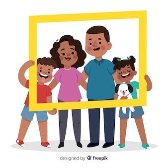 Hand gezeichnetes familienporträt mit rahmen