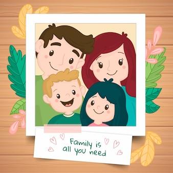Hand gezeichnetes familienportrait in einem polaroid