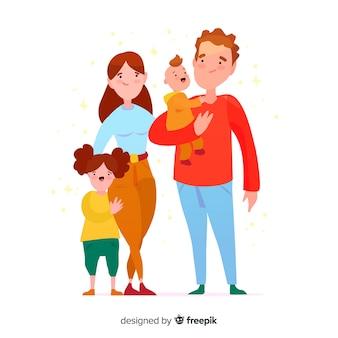 Hand gezeichnetes familienportrait