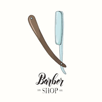 Hand gezeichnetes farbrasiermesser in der skizzenart.