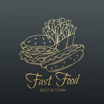 Hand gezeichnetes fast food im alten slyle