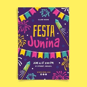 Hand gezeichnetes festa junina plakat