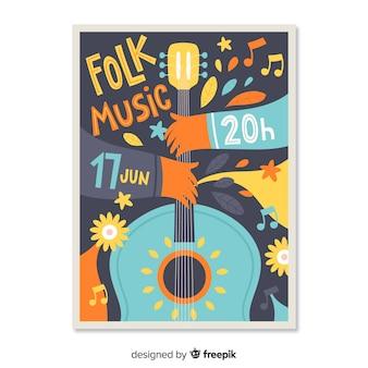 Hand gezeichnetes festivel plakat der musik