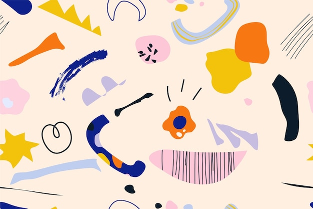Hand gezeichnetes flaches abstraktes formenmuster