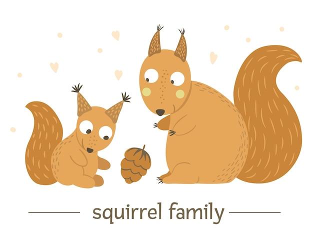 Hand gezeichnetes flaches babyeichhörnchen mit elternteil.