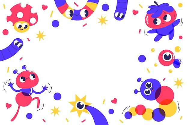 Hand gezeichnetes flaches design des modischen karikaturhintergrundes