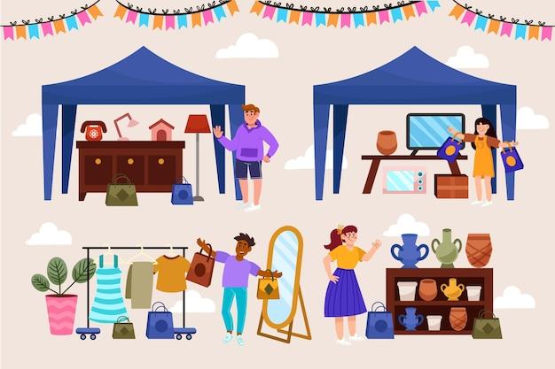 Hand gezeichnetes flohmarktkonzept dargestellt