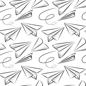 Hand gezeichnetes flugzeug nahtloses muster