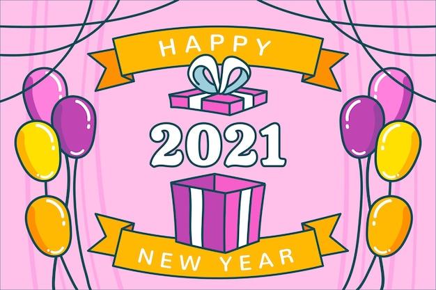 Hand gezeichnetes frohes neues jahr 2021 mit luftballons