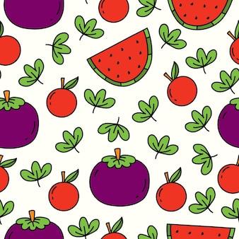 Hand gezeichnetes fruchtgekritzelkarikaturmusterdesign