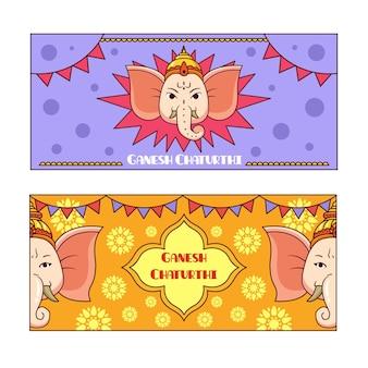 Hand gezeichnetes ganesh chaturthi banner