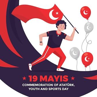 Hand gezeichnetes gedenken an atatürk-, jugend- und sporttagillustration
