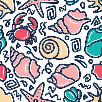Hand gezeichnetes gekritzel des meerestiers gesetzt mit ikonen und gestaltungselementen