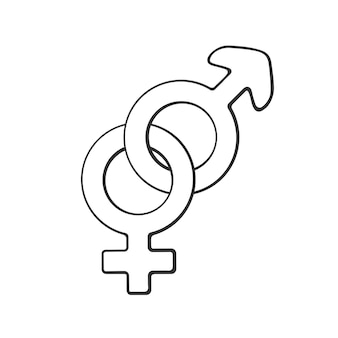 Hand gezeichnetes gekritzel mit heterosexuellem geschlechtssymbol geschlechtspiktogramm vektorillustration