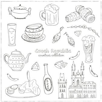Hand gezeichnetes gekritzel tschechische republik reiseset
