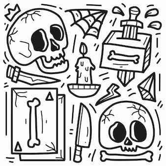 Hand gezeichnetes gekritzelkarikaturschädeltattoo