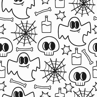 Hand gezeichnetes gekritzelschädelmuster-illustrationsdesign