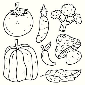Hand gezeichnetes gemüsegekritzelkarikaturillustrations-färbungsdesign