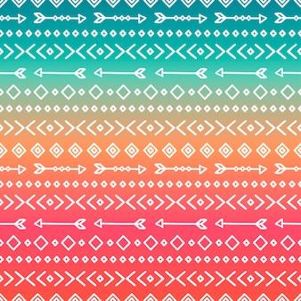 Hand gezeichnetes geometrisches ethnisches stammes- muster. kritzeleien stil. boho streifen