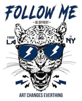 Hand gezeichnetes Gepardvektordesign für T-Shirt Druck