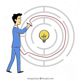 Hand gezeichnetes geschäftskonzept mit labyrinth