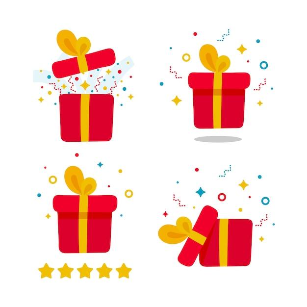 Hand gezeichnetes geschenkgeschenkset. überraschung offene, geschlossene rote box mit konfetti, fünf sterne