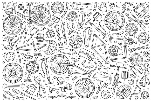 Hand gezeichnetes gesetztes gekritzel des fahrradmechanikers