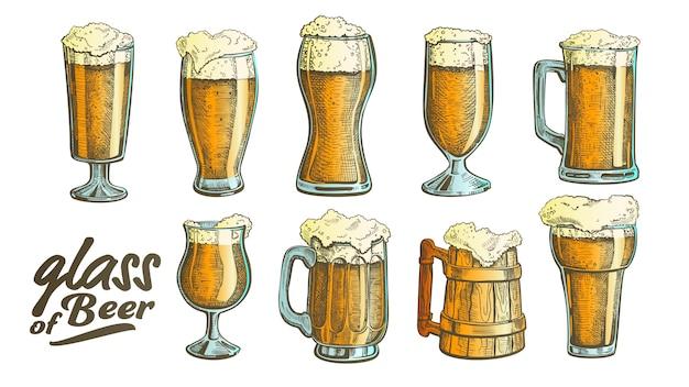 Hand gezeichnetes glasfarbschaum-blasen-bier-set