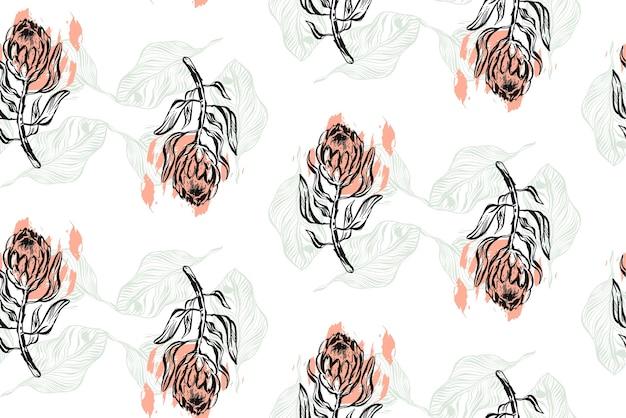 Hand gezeichnetes grafisches abstraktes strukturiertes nahtloses muster mit protea.