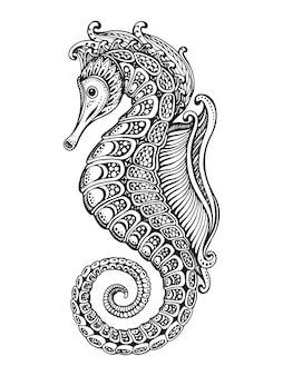 Hand gezeichnetes grafisches verziertes seepferdchen mit ethnischem gekritzelmuster. illustration für malbuch, tätowierung, druck auf t-shirt, tasche. auf einem weißen hintergrund.