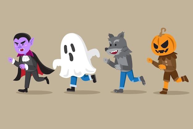 Hand gezeichnetes halloween-charakterpaket