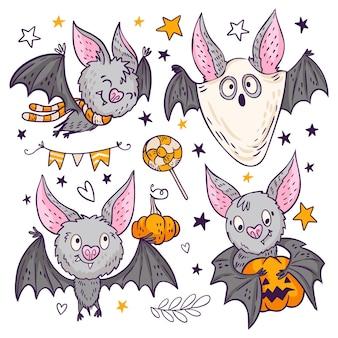 Hand gezeichnetes halloween-fledermauskonzept