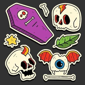 Hand gezeichnetes halloween-gekritzelkarikaturaufkleberdesign