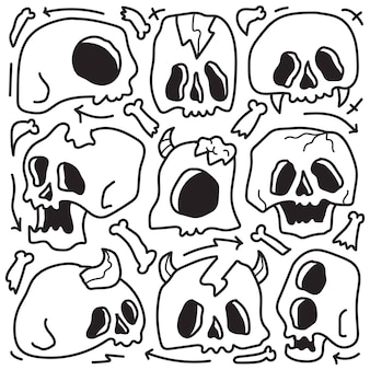 Hand gezeichnetes halloween-gekritzelkarikaturfarbdesign