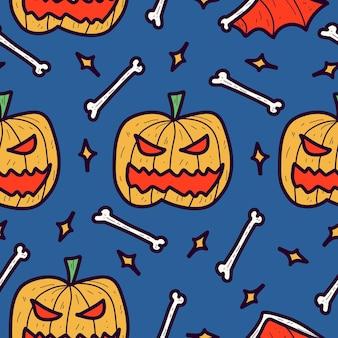 Hand gezeichnetes halloween-gekritzelkarikaturmusterdesign