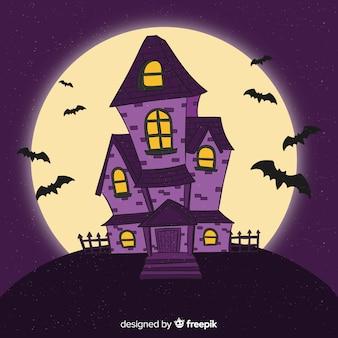 Hand gezeichnetes halloween-haus in der nacht