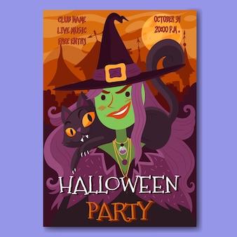 Hand gezeichnetes halloween-partyplakat mit hexe