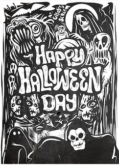 Hand gezeichnetes halloween-plakat, karte, hintergrund.