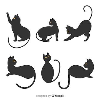 Hand gezeichnetes halloween-schattenbild der katze