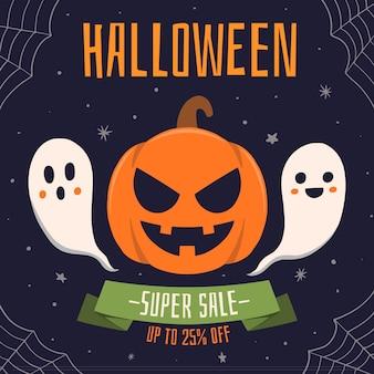 Hand gezeichnetes halloween-verkaufskonzept