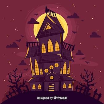 Hand gezeichnetes halloween verlassenes haus