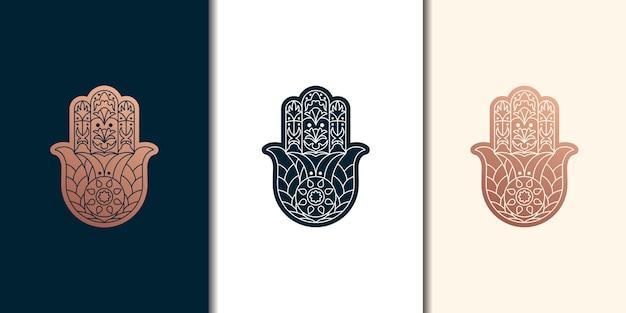Hand gezeichnetes hamsa-symbol. hand von fatima. ethnisches amulett, das in indischen, arabischen und jüdischen kulturen verbreitet ist. buntes hamsa symbol mit östlichem blumenornament.