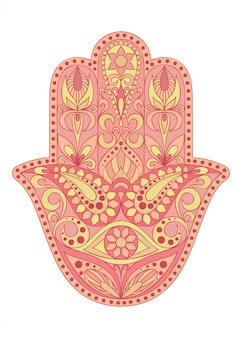Hand gezeichnetes hamsa-symbol. hand von fatima