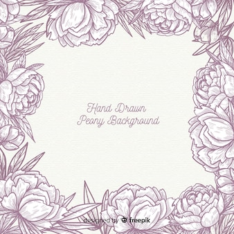 Hand gezeichnetes hintergrunddesign von pfingstrosenblumen