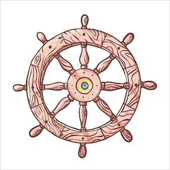 Hand gezeichnetes hölzernes lenkrad des schiffs