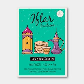 Hand gezeichnetes iftar einladungsschablonenthema